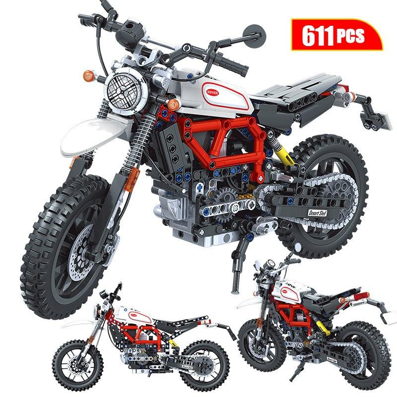 1:6 Creator Technic Adventure Motorcycle Car MOC Model Building Blocks City Racing Car Motorbike Vehicle Bricks Toys for Kids
